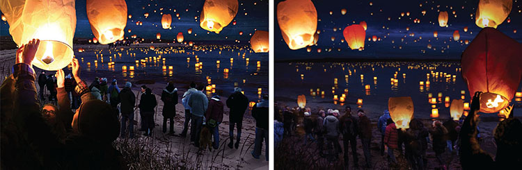 """""""A Night to Remember."""" Bonfire Competition. Images by Dale Bradley. Assistant Professor Anne Beamish's World of Night specialization studio."""